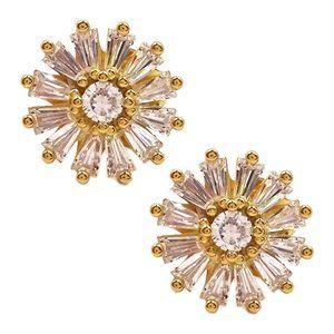 SAVVY CIE 18K Gold Vermeil CZ Starburst Earrings